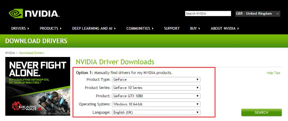 how to download nvidea drivers manually