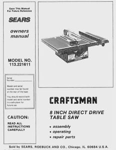 craftsman 10 table saw model 113.241691 owners manual
