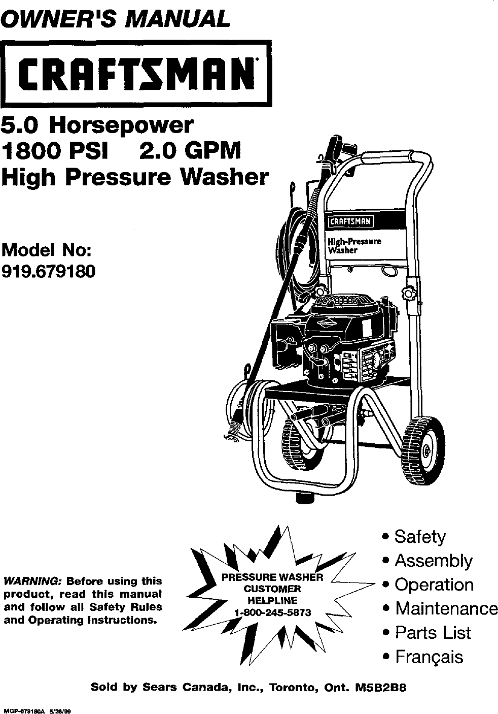 craftsman pressure washer 1800 psi manual model 580761800